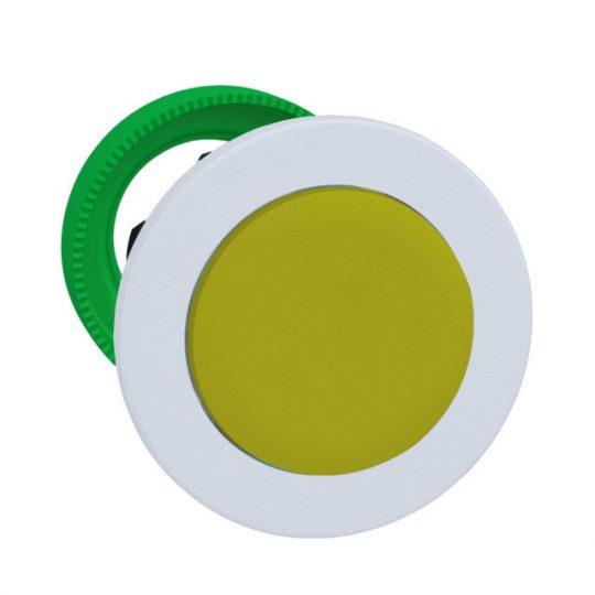 Schneider ZB5FH5C1 Harmony panelbe süllyesztett műanyag nyomógomb fej, Ø30, kiemelkedő, sárga, nyomó-nyomó, fehér perem