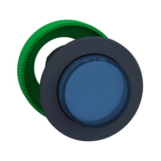 Schneider ZB5FH63 Harmony panelbe süllyesztett műanyag világító nyomógomb fej, Ø30, kiemelkedő, kék, nyomó-nyomó