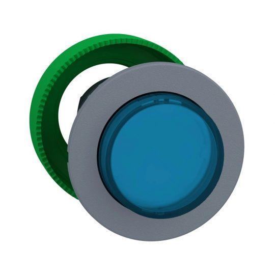 Schneider ZB5FH63C0 Harmony panelbe süllyesztett műanyag világító nyomógomb fej, Ø30, kiemelkedő, kék, nyomó-nyomó, szürke perem