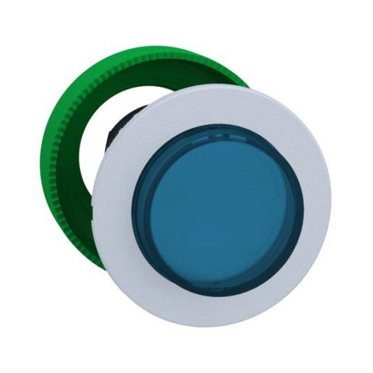 Schneider ZB5FH63C1 Harmony panelbe süllyesztett műanyag világító nyomógomb fej, Ø30, kiemelkedő, kék, nyomó-nyomó, fehér perem