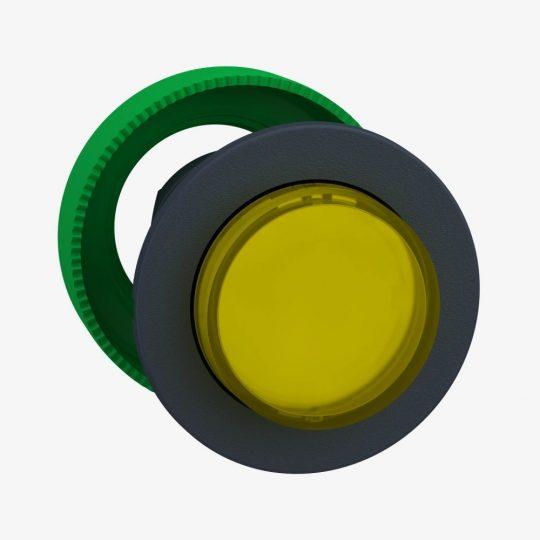 Schneider ZB5FH83 Harmony panelbe süllyesztett műanyag világító nyomógomb fej, Ø30, kiemelkedő, sárga, nyomó-nyomó