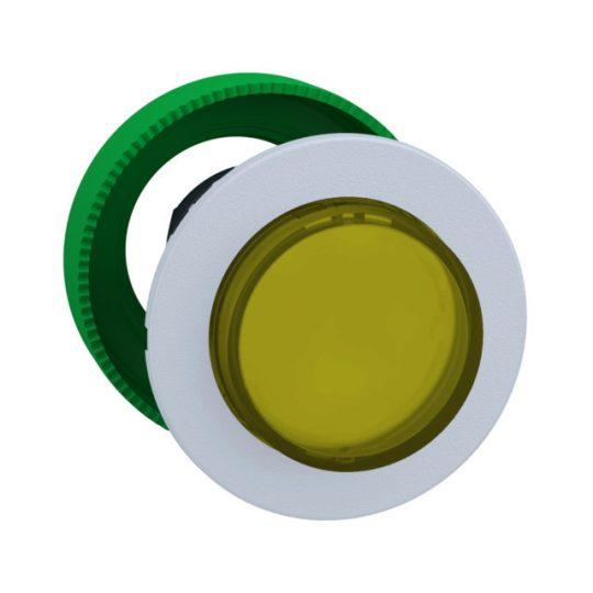 Schneider ZB5FH83C1 Harmony panelbe süllyesztett műanyag világító nyomógomb fej, Ø30, kiemelkedő, sárga, nyomó-nyomó, fehér perem