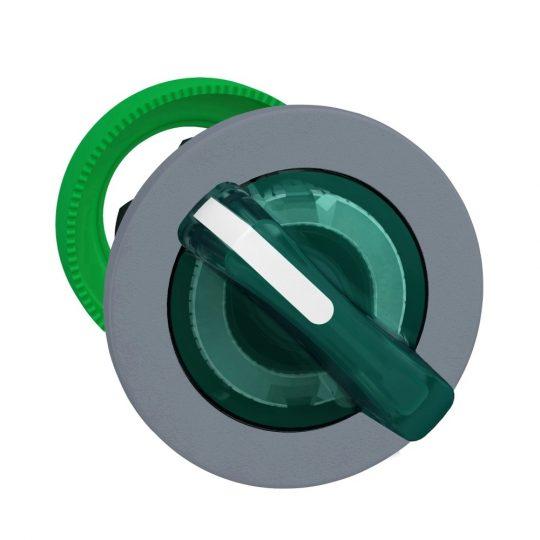 Schneider ZB5FK1233C0 Harmony panelbe süllyesztett műanyag világító választókapcsoló fej, Ø30, 2 állású, zöld, szürke perem