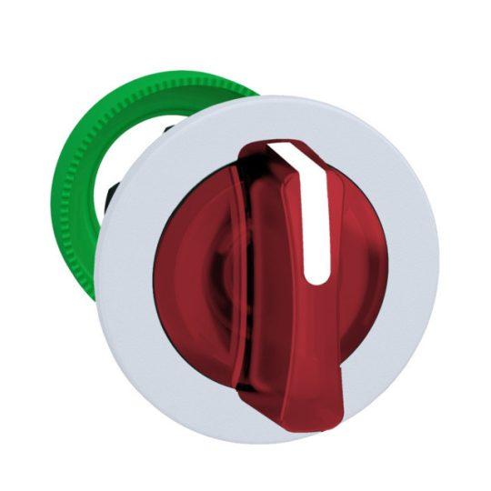 Schneider ZB5FK1343C1 Harmony panelbe süllyesztett műanyag világító választókapcsoló fej, Ø30, 3 állású, piros, fehér perem
