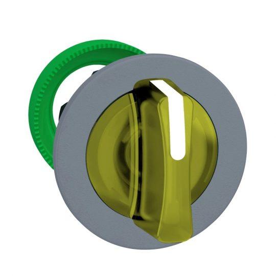 Schneider ZB5FK1383C0 Harmony panelbe süllyesztett műanyag világító választókapcsoló fej, Ø30, 3 állású, sárga, szürke perem