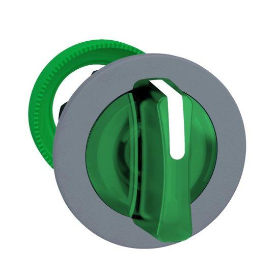 Schneider ZB5FK1533C0 Harmony panelbe süllyesztett műanyag világító választókapcsoló fej, Ø30, 3 állású, zöld, középre vissza., szürke perem