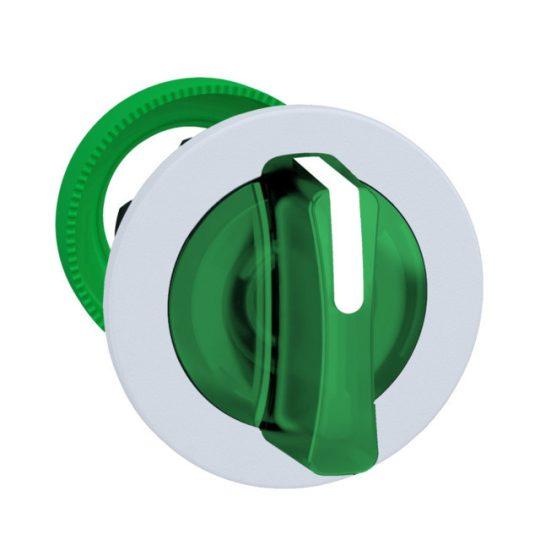 Schneider ZB5FK1533C1 Harmony panelbe süllyesztett műanyag világító választókapcsoló fej, Ø30, 3 állású, zöld, középre vissza., fehér perem