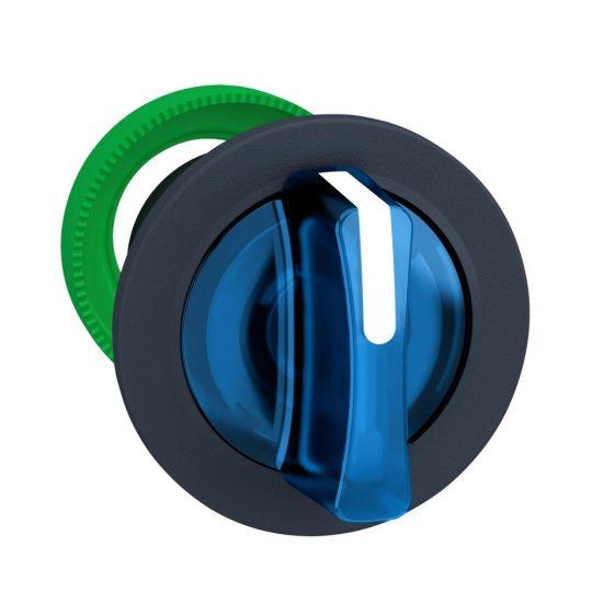 Schneider ZB5FK1563 Harmony panelbe süllyesztett műanyag világító választókapcsoló fej, Ø30, 3 állású, kék, középre visszatérő