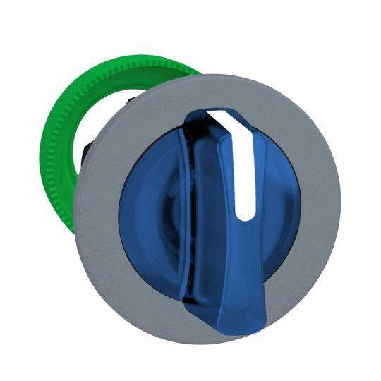 Schneider ZB5FK1563C0 Harmony panelbe süllyesztett műanyag világító választókapcsoló fej, Ø30, 3 állású, kék, középre vissza., szürke perem