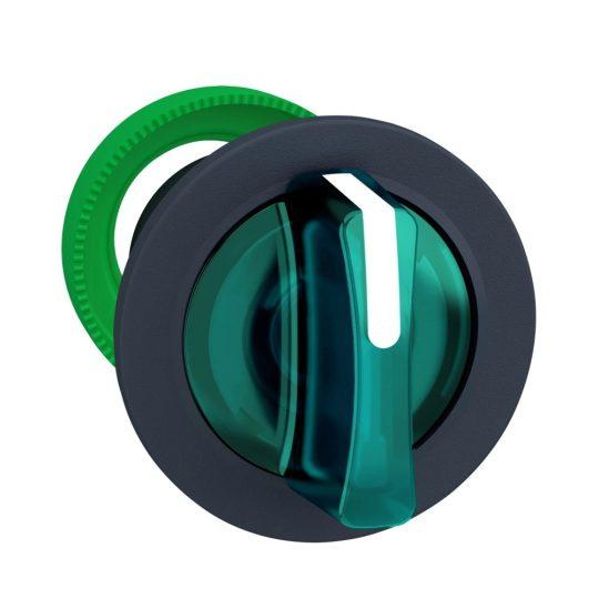 Schneider ZB5FK1733 Harmony panelbe süllyesztett műanyag világító választókapcsoló fej, Ø30, 3 állású, zöld, balról közép visszatérő
