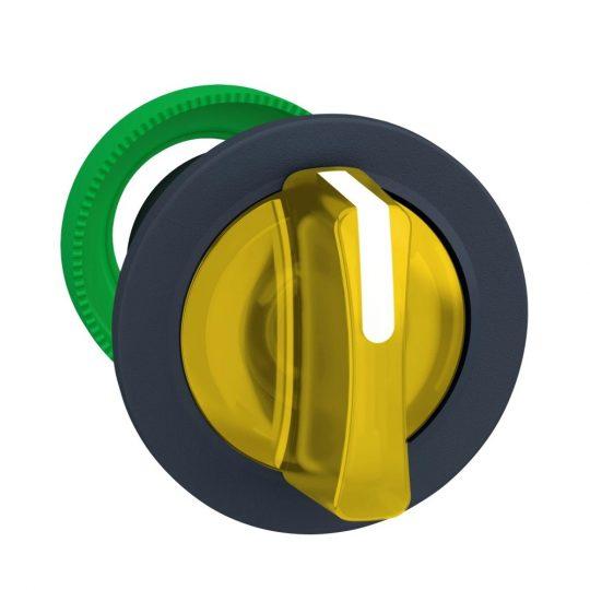 Schneider ZB5FK1783 Harmony panelbe süllyesztett műanyag világító választókapcsoló fej, Ø30, 3 állású, sárga, balról visszatérő