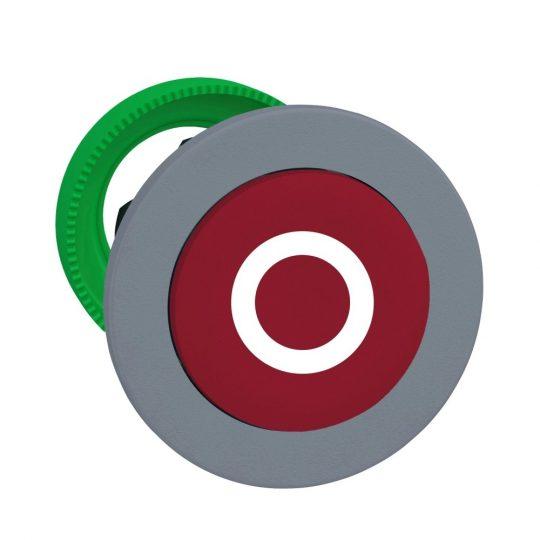 """Schneider ZB5FL432C0 Harmony panelbe süllyesztett műanyag nyomógomb fej, Ø30, kiemelkedő, piros, """"O"""", szürke perem"""