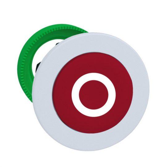 """Schneider ZB5FL432C1 Harmony panelbe süllyesztett műanyag nyomógomb fej, Ø30, kiemelkedő, piros, """"O"""", fehér perem"""