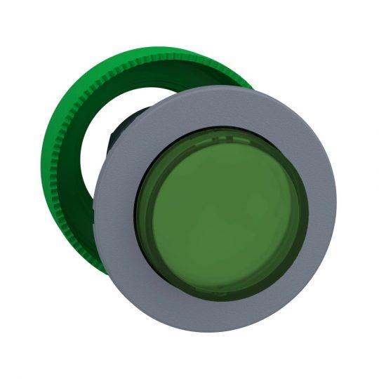 Schneider ZB5FW133C0 Harmony panelbe süllyesztett műanyag világító nyomógomb fej, Ø30, kiemelkedő, zöld, szürke perem