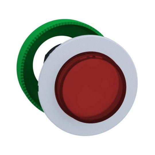Schneider ZB5FW143C1 Harmony panelbe süllyesztett műanyag világító nyomógomb fej, Ø30, kiemelkedő, piros, fehér perem