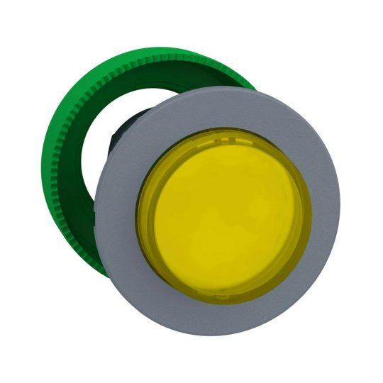 Schneider ZB5FW183C0 Harmony panelbe süllyesztett műanyag világító nyomógomb fej, Ø30, kiemelkedő, sárga, szürke perem