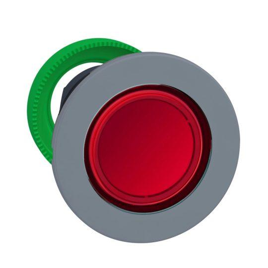 Schneider ZB5FW343C0 Harmony panelbe süllyesztett műanyag világító nyomógomb fej, Ø30, visszatérő, piros, szürke perem