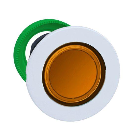 Schneider ZB5FW353C1 Harmony panelbe süllyesztett műanyag világító nyomógomb fej, Ø30, visszatérő, narancssárga, fehér perem