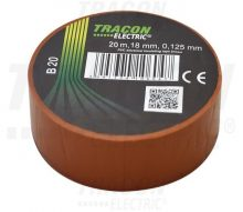 Szigetelőszalag, barna, 20 m x 18 mm, PVC,  0-90°C Tracon (B20)