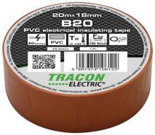 Tracon, B20, szigetelőszalag, barna, 20 m x 18 mm, PVC,  0-90°C Tracon (B20)