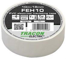 Szigetelőszalag, fehér, 10 m x 18 mm, PVC,  0-90°C Tracon (FEH10)