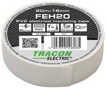 Szigetelőszalag, fehér, 20 m x 18 mm, PVC,  0-90°C Tracon (FEH20)