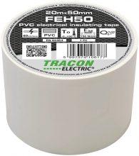 Szigetelőszalag, fehér, 20 m x 50 mm, PVC,  0-90°C Tracon (FEH50)