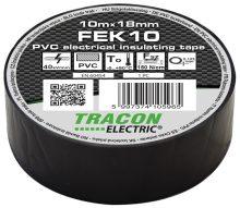 Szigetelőszalag, fekete, 10 m x 18 mm, PVC,  0-90°C Tracon (FEK10)