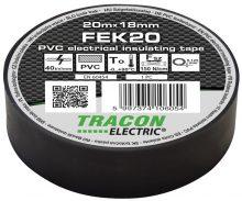 Szigetelőszalag, fekete, 20 m x 18 mm, PVC,  0-90°C Tracon (FEK20)