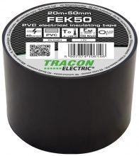 Szigetelőszalag, fekete, 20 m x 50 mm, PVC,  0-90°C Tracon (FEK50)