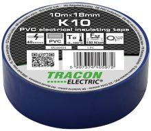 Szigetelőszalag, kék, 10 m x 18 mm, PVC,  0-90°C Tracon (K10)