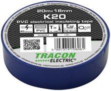 Szigetelőszalag, kék, 20 m x 18 mm, PVC,  0-90°C Tracon (K20)