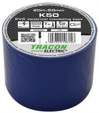 Szigetelőszalag, kék, 20 m x 50 mm, PVC,  0-90°C Tracon (K50)