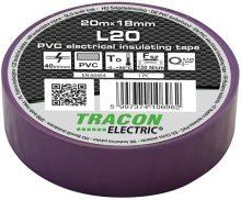 Szigetelőszalag, lila, 20 m x 18 mm, PVC,  0-90°C Tracon (L20)