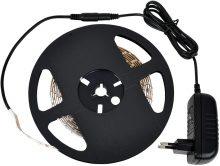 LED szalag szet, beltéri IP20 4,8 W / m teljesítménnyel, 120lm, 3000K melegfehér színhőmérséklettel, 12V DC, 8mm széles, 30 led/m SMD LED 120° (Tracon LED-SET-B-WW)