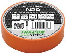 Szigetelőszalag, narancs, 20 m x 18 mm, PVC,  0-90°C Tracon (N20)