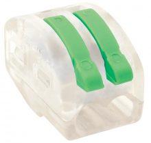 Vezeték összekötő 2 x 0,5-4mm2 -es tömör és sodrott vezetékhez, oldható, átlátszó házban, TRACON ( OVOT2,5-2 )