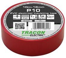Szigetelőszalag, piros, 10 m x 18 mm, PVC,  0-90°C Tracon (P10)