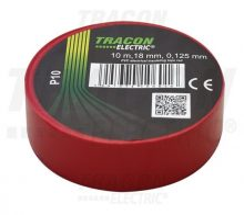 Tracon, P10, szigetelőszalag, piros, 10 m x 18 mm, PVC,  0-90°C Tracon (P10)