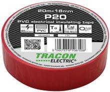 Tracon, P20, szigetelőszalag, piros, 20 m x 18 mm, PVC,  0-90°C Tracon (P20)