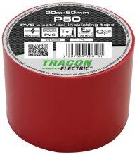 Szigetelőszalag, piros, 20 m x 50 mm, PVC,  0-90°C Tracon (P50)
