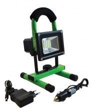 Tracon RSMDAE10W LED-es hordozható, akkumlátoros  fényvető, vészjelző funkcióval + USB töltővel, 10 W teljesítménnyel, zöld-fekete színben, 4500K színhőmérséklettel, IP54-es védelemmel, 600 lm fényerővel