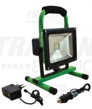 Tracon RSMDAE20W LED-es hordozható, akkumlátoros  fényvető, vészjelző funkcióval, 20 W teljesítménnyel, zöld-fekete színben, 4500K színhőmérséklettel, IP54-es védelemmel, 1200 lm fényerővel