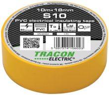 Szigetelőszalag, sárga, 10 m x 18 mm, PVC,  0-90°C Tracon (S10)