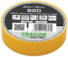 Szigetelőszalag, sárga, 20 m x 18 mm, PVC,  0-90°C Tracon (S20)