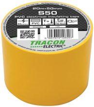 Szigetelőszalag, sárga, 20 m x 50 mm, PVC,  0-90°C Tracon (S50)