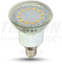 LED-es fényforrás, ( 12 LEDES spot ), 3W-os teljesítményű, E14 foglalattal, 3000K-es színhőmérsékletü, SMD LED ( 210 lm ) Tracon ( SMD-E14-12-WW )