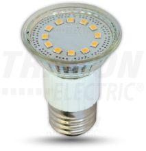 LED-es fényforrás, ( 12 LEDES spot ), 3W-os teljesítményű, E27 foglalattal, 3000K-es színhőmérsékletü, SMD LED ( 210 lm ) Tracon ( SMD-E27-12-WW )