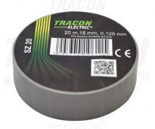 Szigetelőszalag, szürke, 20 m x 18 mm, PVC,  0-90°C Tracon (SZ20)