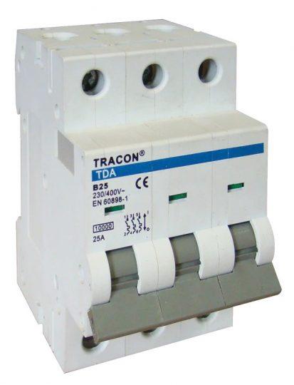 Tracon TDA-3B-1 Kismegszakító 3P, 1A, B karakterisztika, 10kA